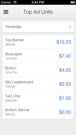 Google AdSense iOS App Top Units