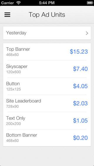 Google AdSense iOS App Top Units