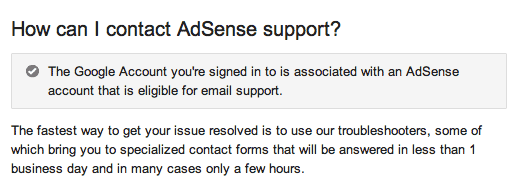Google AdSense Email Support Eligibility