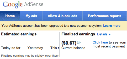 AdSense New Payment Page