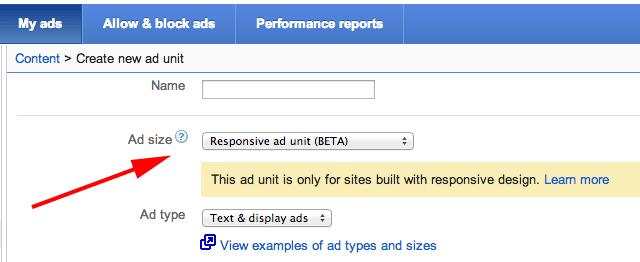 Google AdSense Responsive Design Ad Units