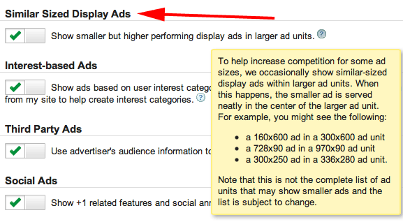Google AdSense - Similar Sized Display Ads