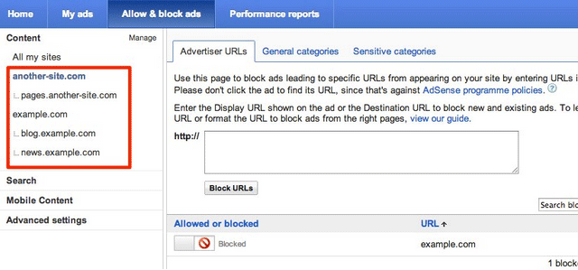 Google AdSense Site Level Blocking