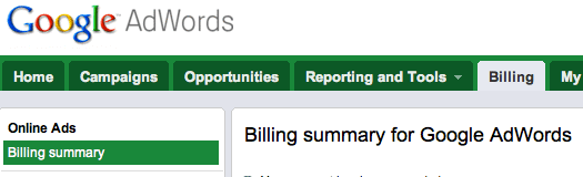 AdWords Billing Tab Screenshot