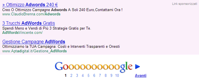 Google AdWords At Bottom Of Search Results