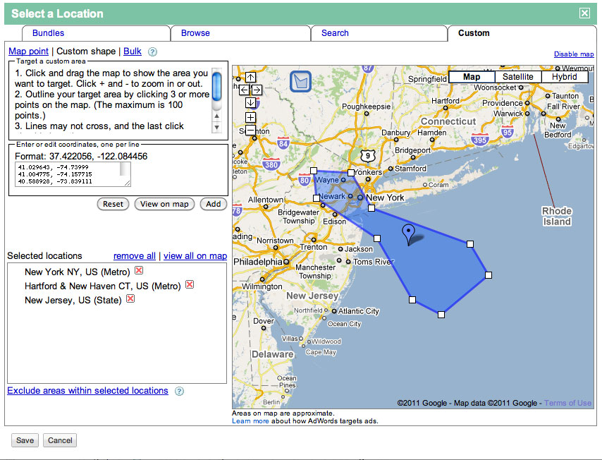 Google AdWords Dropping Custom Shape Location Targeting