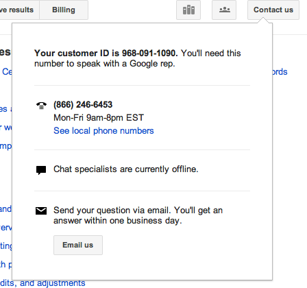 AdWords Help Contact Us