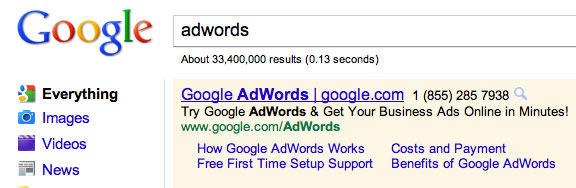 AdWords Display URL in Title