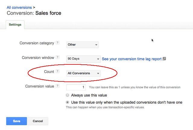 adwords flex conversion setting