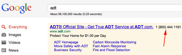 AdWords Phone Extensions