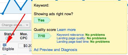 Google AdWords Diagnose Hover