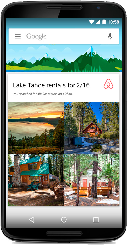 Airbnb app Google Now Card