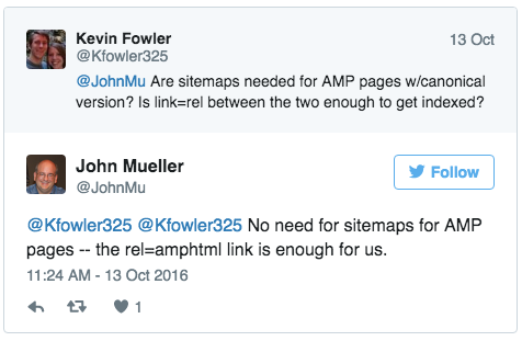 amp pages don t need google sitemap xml files