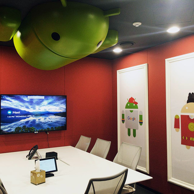 Android Attached To Ceiling At Google Korea