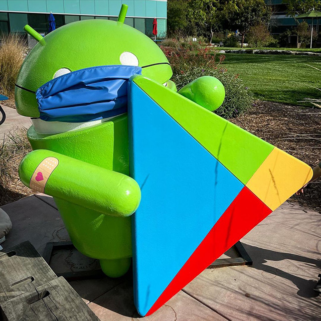 Android Statue At GooglePlex With Mask