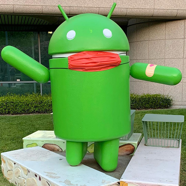 Another Android Statue With Mask & Vaccine Bandaid At The GooglePlex