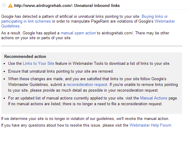Anglo Rank Google Webmaster Penalty Notification