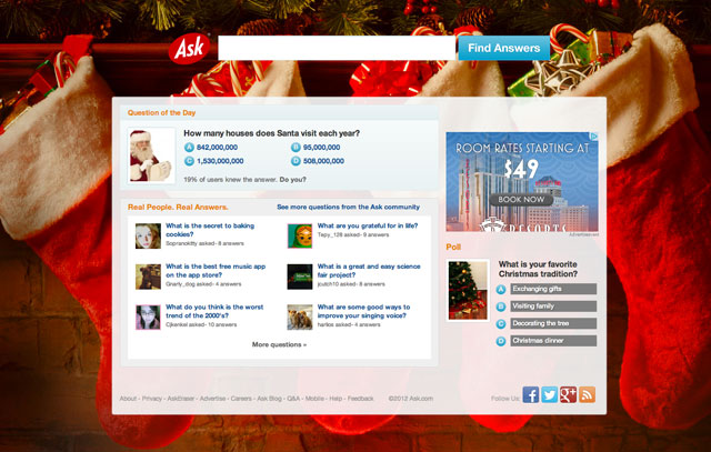 Ask.com Christmas Day Logo 2012