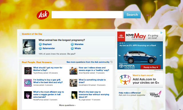 Ask.com 2012 Mother's Day Logo