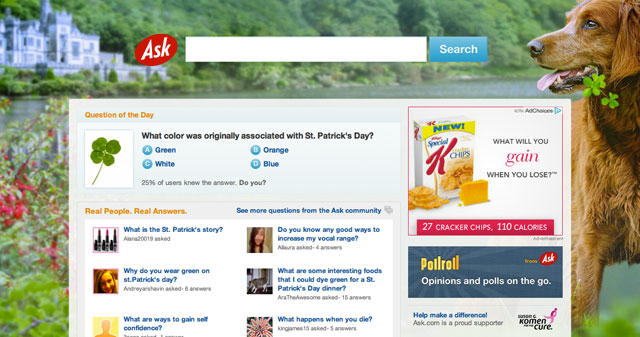 Ask.com's St. Patrick's Day Theme