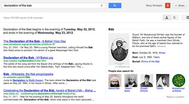 Baha'i Religion Upset With Google Knowledge Graph