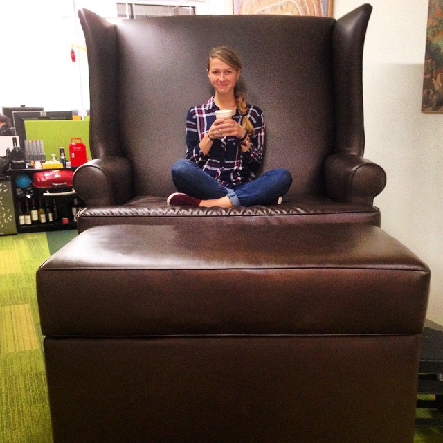 Massive Leather Google Chair & Ottoman