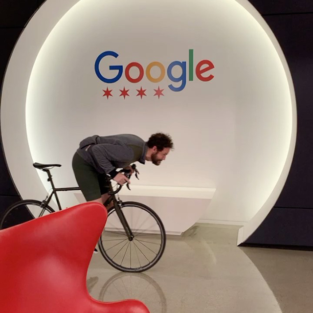 Riding A Bike Inside A Google Office