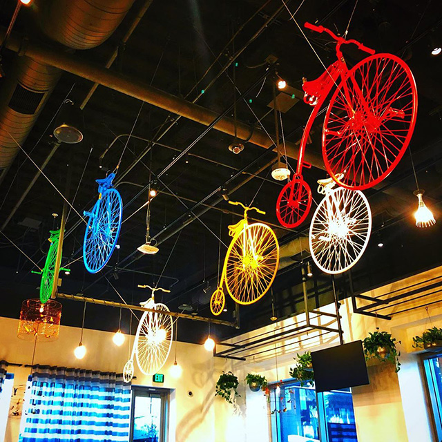 Bikes Hanging From Ceiling At The Google Office