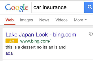 bing car insurance google ad