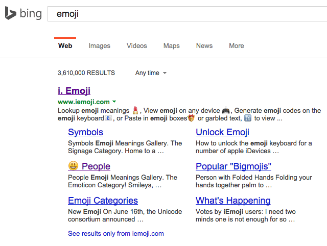 Bing Search Emoji