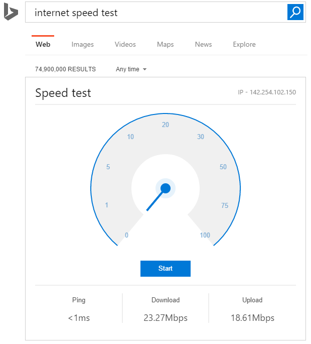 bing adds speed test widget to search results for some