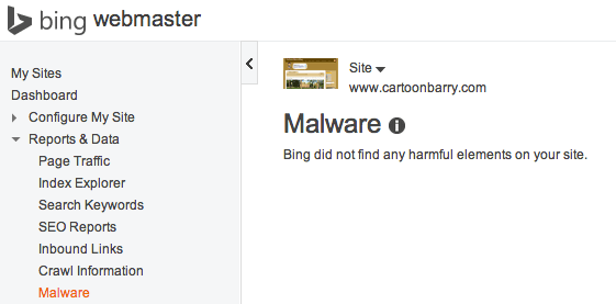 bing webmaster tools malware section