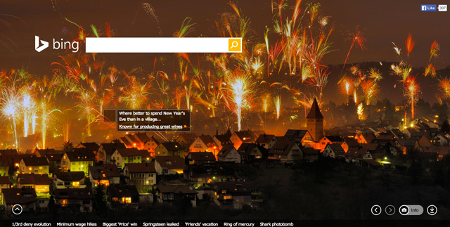 Bing's New Year's Eve 2013 Background