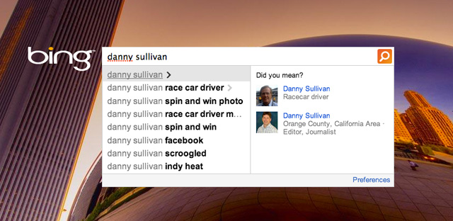 Bing Auto Suggest People - Danny Sullivan