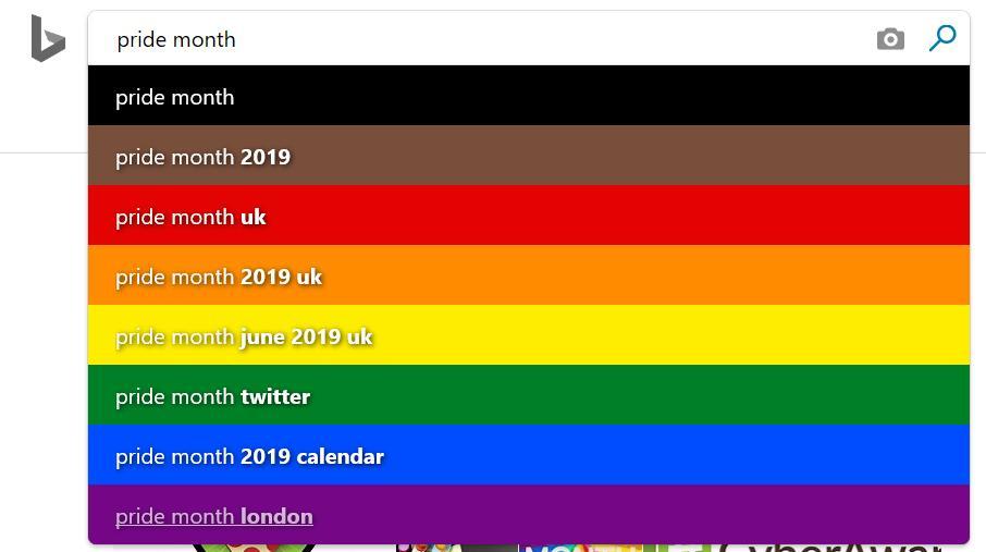 Pride Month Calendar 2019.Bing Pride Month Search Box Rainbow Easter Egg