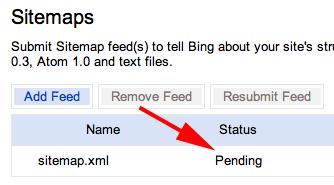 Bing Sitemaps Pending