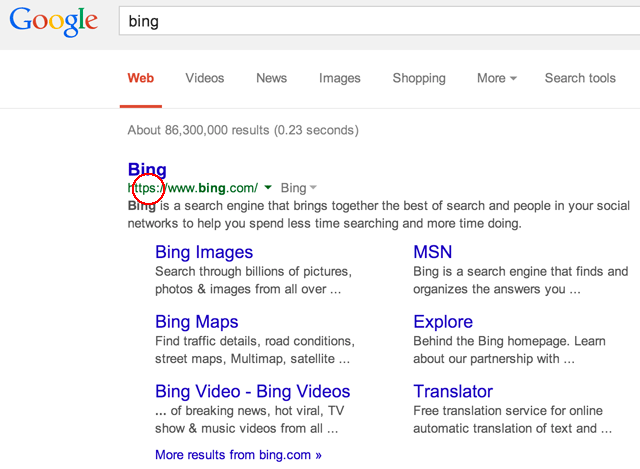 Bing SSL on Google