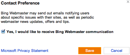 Bing Webmaster Email Notifications