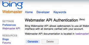 Bing Webmaster Tools API