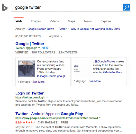 Microsoft is testing a new Twitter carousel box for Bing Search