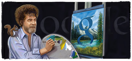 Bob Ross Google Logo - 70th Birthday Doodle