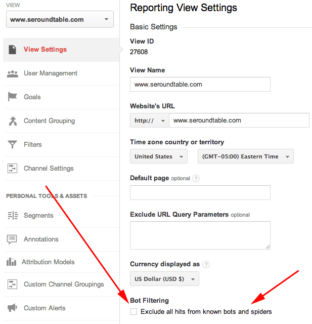 Google Analytics Setting For Bot Filtering