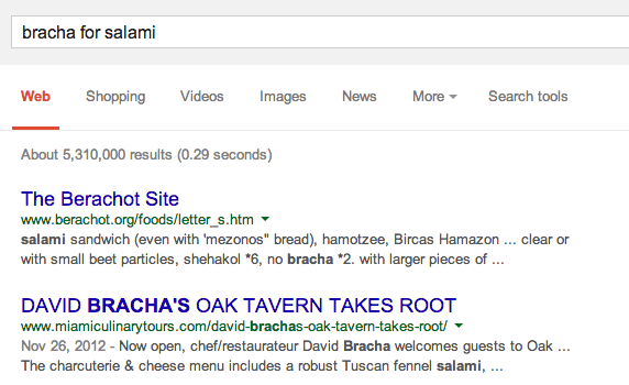Google Answer: bracha