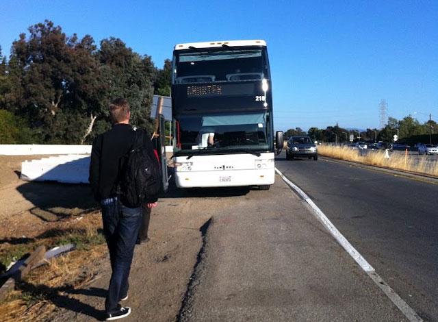 Google Bus Breaks Down