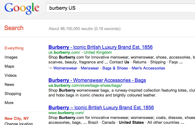 Google Burberry Results
