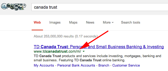 Canada Trust Mobile Site  in Google