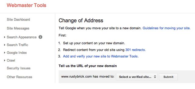 Google Change Of Address Tool