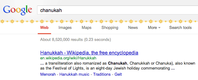 Google Chanukah Decorations