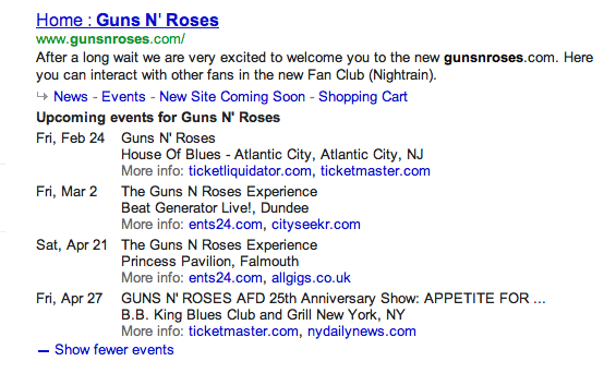 Concert Rich Snippets