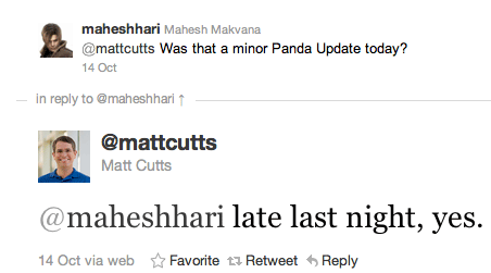 Panda Matt Cutts update tweet
